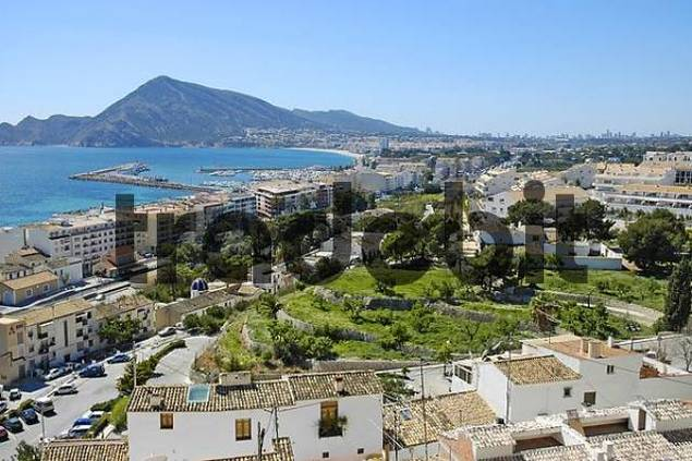 view from Altea to the harbour and LAlbir with the skyline of Benidom, Costa Blanca, Spain