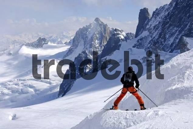 Skier on a tour in Vallå Blanche Alps Savoie Haute-Savoie France