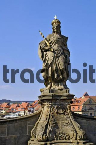 Statue of St. Kunigunde at the bridge to the quotOld Townhallquot at the Regnitz river, Bamberg, Upper Franconia, Bavaria, Germany