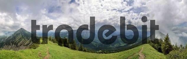 Panoramic view of Mt Guffert and the Tegernseer Alps from the Blaubergkamm Ridge, short before storm, Wildbadkreuth, Bavaria, Germany, Europe