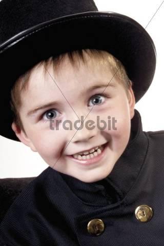 Boy dressed as a chimney sweep