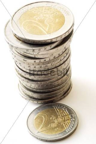 Stacks of coins, two-euros coins