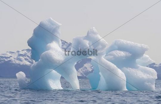 Bizarre ice bergs, melting, drifting in Columbia Bay, Pacific Coast, Chugach National Forest, Prince William Sound, Alaska, USA