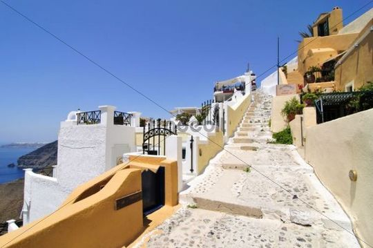 Alley in Thira, Fira, Santorini, Cyclades, Greece, Europe