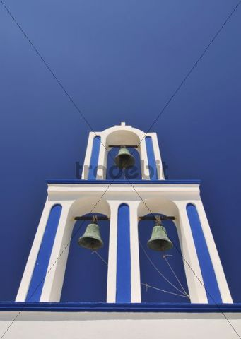 Blue and white bell tower, Santorini, Cyclades, Greece, Europe
