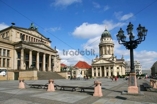 Concert Hall and the French Cathedral at Gendarmenmarkt, Central Berlin, Germany, Europe