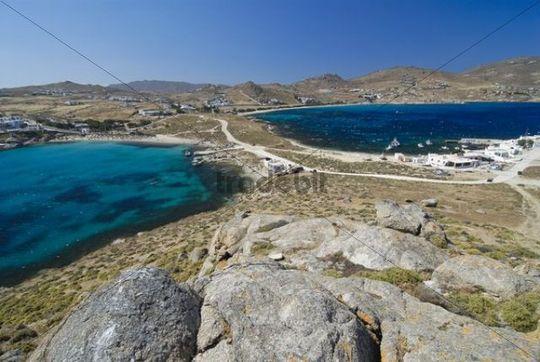 Double bay of Kalafati, Kalafatis, Agia Anna, Dimasto, Mykonos, Cyclades, Greece, Europe
