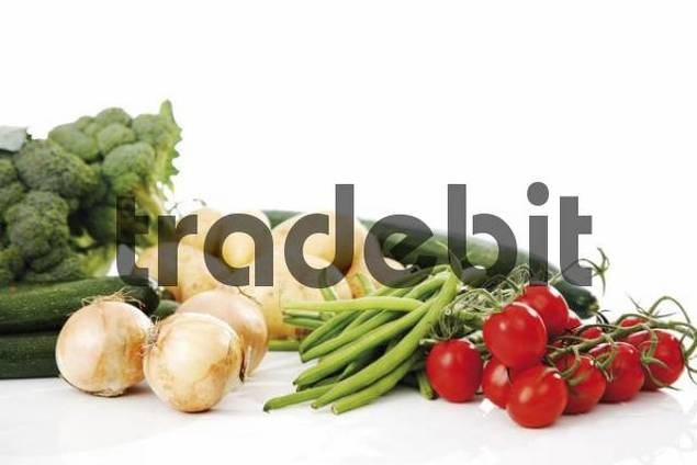 Mixed vegetables, broccoli, potatoes, zucchini, beans, cucumber, tomatoes, onions and chillies