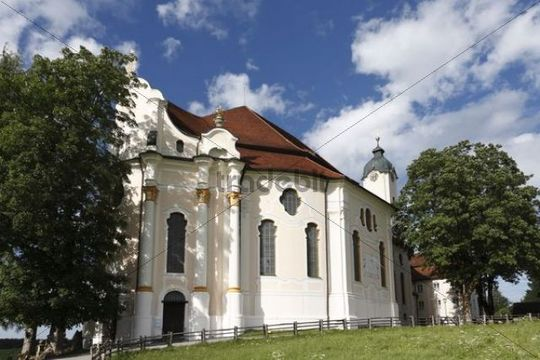 Wies Church, pilgrimage church of the flagellation of the saviour of Wies, Steingaden Parish, Pfaffenwinkel, Upper Bavaria, Bavaria, Germany, Europe