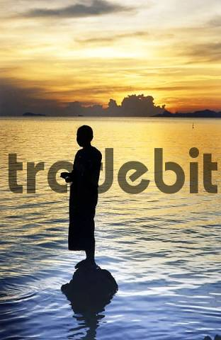woman with sunset