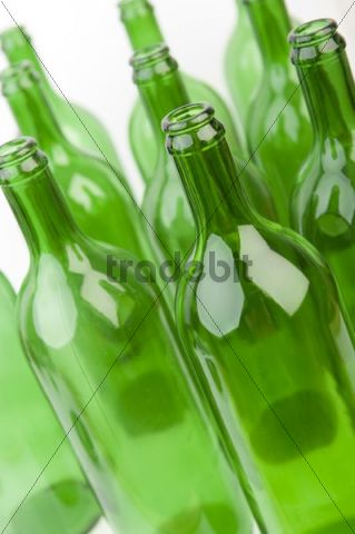 Empty green glass bottles