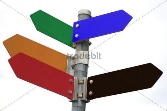 Blank signpost in Austrian party colours