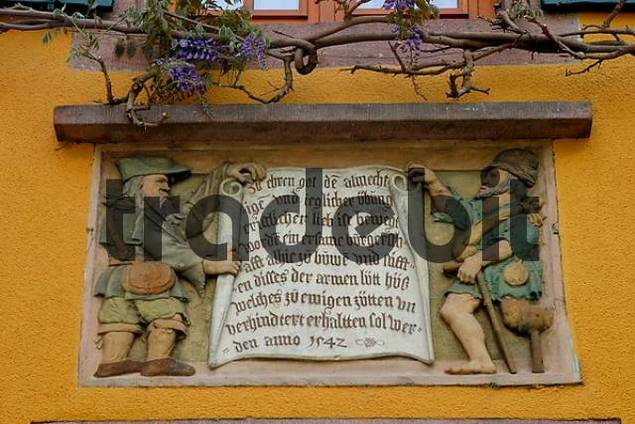 wall relief in Riquewihr Alsace France