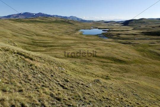Lake Dlinoe in Bujljukem Valley, Saylyugem Mountains, Chuya Steppe, Altai Republic, Siberia, Russia, Asia