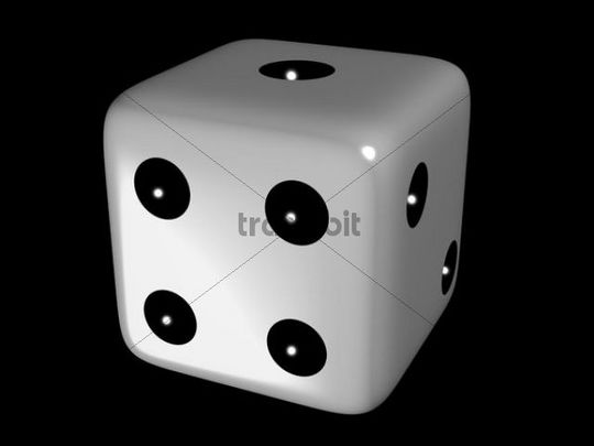 White die, dice, close-up on black backing, 3D illustration, concept symbolizing chance, luck, gaming, gambling
