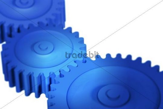 Three interlinking blue cogs, 3D illustration, concept symbolizing teamwork, cooperation, work, business, function