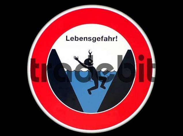 warning sign at the Emscher, mortal danger, danger of drowning due to heavy currents