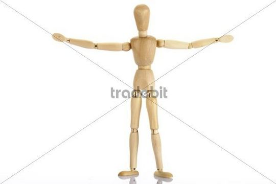 Wooden jointed figure controlling traffic