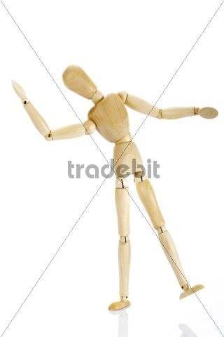 Wooden jointed figure swaying