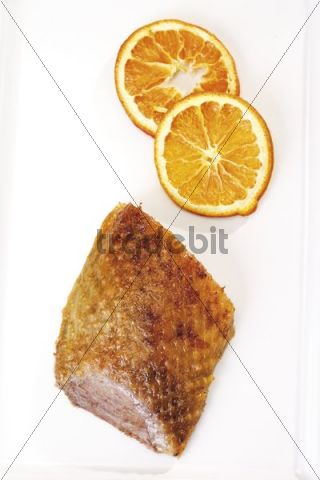 Roast goose-breast and dried orange slices
