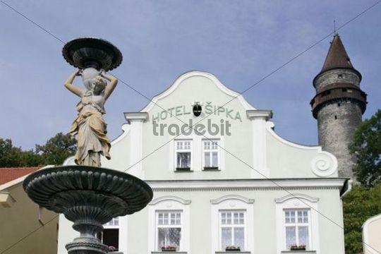 Statue in front of hotel, Trba Castle Tower, Stramberk, North Moravia, Czech Republic, Europe