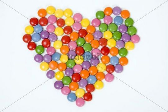 Heart of coloured confectionary