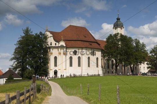 Wieskirche Church, Zum Gegeisselten Heiland auf der Wies Pilgrimage Church, Steingaden municipality, Pfaffenwinkel region, Upper Bavaria, Germany, Europe