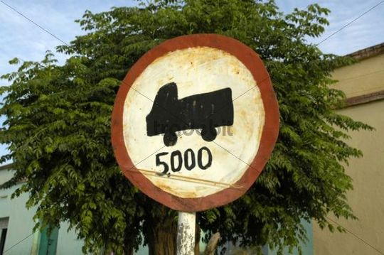 Hand painted official road sign forbidding trucks of more than 5 tons, Axum, Ethiopia, Africa
