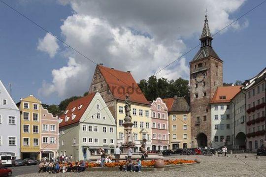 Main square with Schalzturm tower in Landsberg am Lech, Upper Bavaria, Bavaria, Germany, Europe