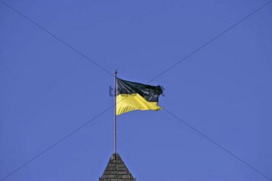 Black and yellow, the city colours of Munich, on a flattering flag, Munich, Bavaria, Germany, Europe