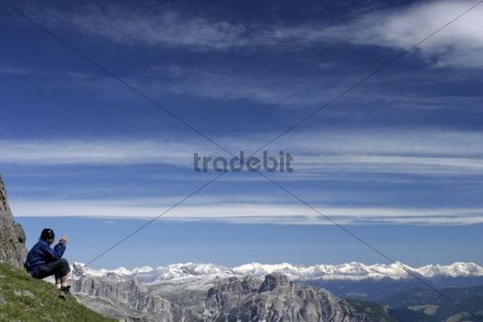 Panorama from Crepes de Padon, Dolomites, Alps, Italy, Europe