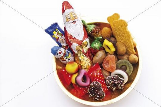 Alms plate covered in Christmas sweets