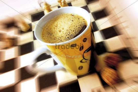 Cup Of Coffee On A Chess Board Download Abstract