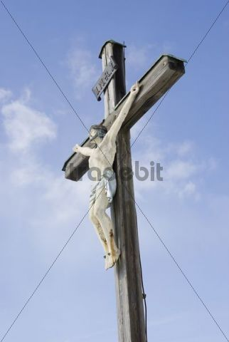 Wooden cross with figure of Christ, Leitzachtal Valley, Bavaria, Germany, Europe