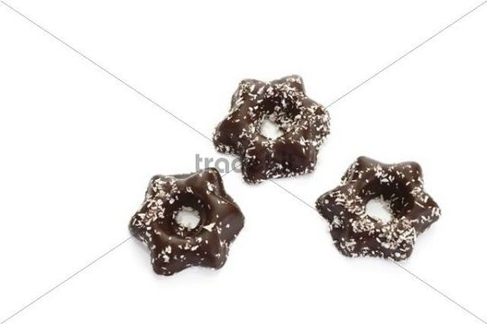 Coconut star candies coated in chocolate