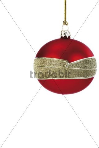 Red Christmas tree bauble with a golden band