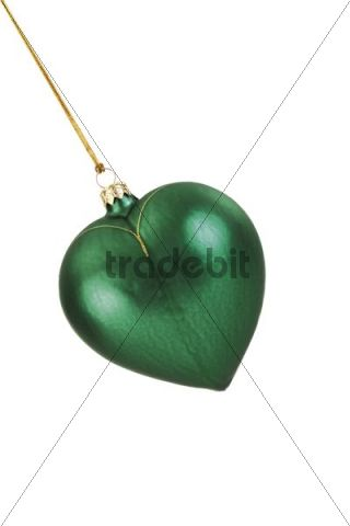 Green heart-shaped Christmas tree bauble