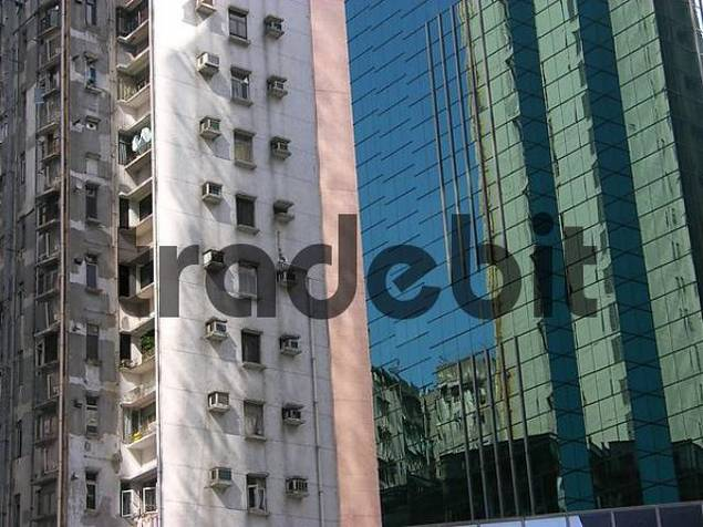 Old and new high-rise building facades in Hongkong central, Hong Kong, China, Asia