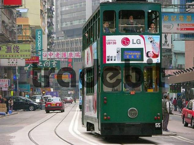 Streetcar tram in Hong Kong, China, Asia