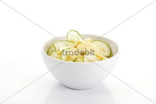Potato salad with cucumber in a bowl
