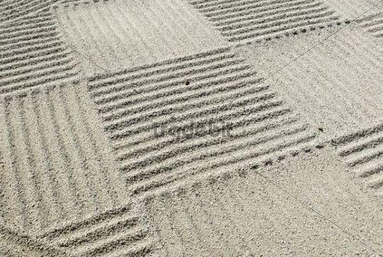 Japanese, patterned sand in a flat level garden, Flat Garden, Hira Niwa, Japan, Asia