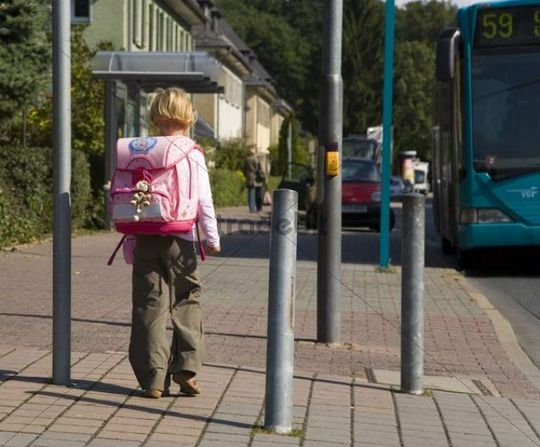 6-year-old child on her way to school, Frankfurt, Hesse, Germany, Europe