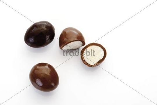 Marzipan eggs with chocolate coating
