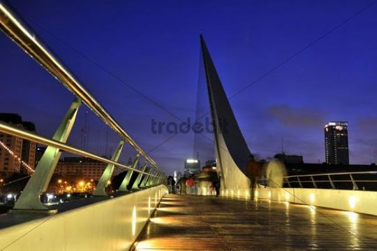 Puente de la Mujer, Womans Bridge, at night, situated in the old harbour Puerto Madero, Buenos Aires, Argentina, South America