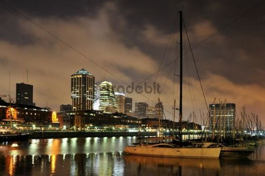 Yachts at night in the old harbour Puerto Madero, restored for tourists, Buenos Aires, Argentina, South America