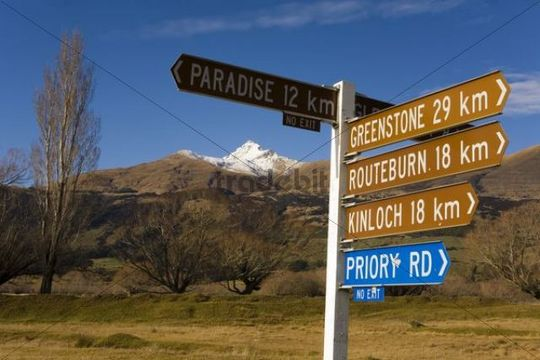 Signpost to the village of Paradise, Stair Peak, Fiordland, South Island, New Zealand