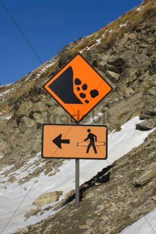 Traffic sign, beware rockfalls, snowboarders please change sides, Frankton, Otago, South Island, New Zealand