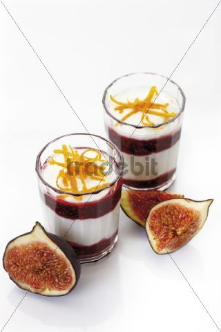 Fresh Figs Ficus carica served with curd cheese