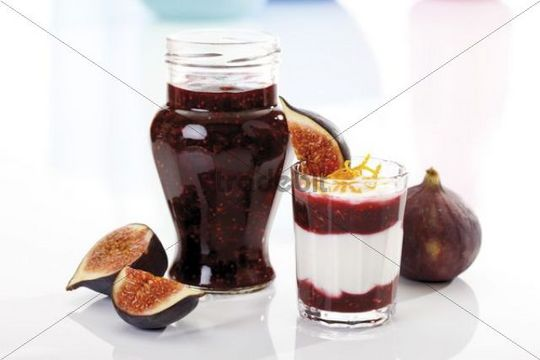 Fresh Figs Ficus carica with curd cheese and fig jam