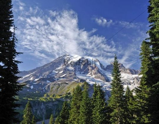 View of the Mount Rainier Glacier from the Nisqually Glacier View, Mount Rainier National Park, Washington, USA, North America